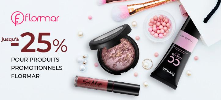 Remise jusqu'à -25% sur la gamme promotionnelle de Flormar. Les prix sur le site sont indiqués avec des réductions