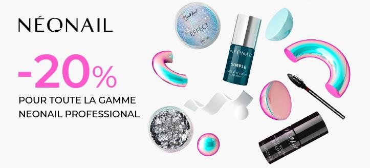 -20% de réduction sur toute la gamme NeoNail Professional. Les prix sur le site sont indiqués avec des réductions