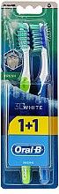 Parfums et Produits cosmétiques Lot de 2 brosses à dents medoum, vert + bleu - Oral-B 3D White Fresh 40 Medium 1+1