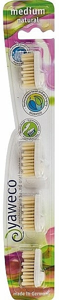 Têtes de remplacement pour brosse à dents, moyenne - Yaweco Replaceable Toothbrush Brush Heads Natural Medium