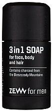 Parfums et Produits cosmétiques Savon au charbon actif pour visage, corps et cheveux - Zew For Men 3 in 1 Soap For Face Body And Hair