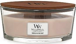 Bougie parfumée ellipse avec mèche en bois, Vanille et Sel marin - Woodwick Sea Salt & Vanilla Scented Candle — Photo N1