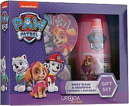 Parfums et Produits cosmétiques Uroda Paw Patrol Girl - Set (gel douche et shampooing/250ml + éponge de bain + autocollants)