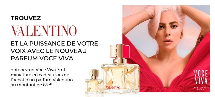 Recevrez un Voce Viva 7 ml mini en cadeau lors de l'achat de parfums Valentino de plus de 65 €