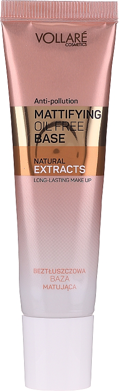 Base de maquillage matifiante - Vollare Mattifying Oil Free Natural Extracts Base Long-Lasting Make Up