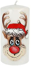 Parfums et Produits cosmétiques Bougie décorative, cerf, blanche, 7 x 10 cm - Artman Christmas Candle Rudolf