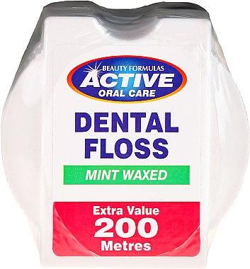 Fil dentaire ciré goût menthe, 200m - Beauty Formulas Active Oral Care Dental Floss Mint Waxed 200m