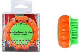 Parfums et Produits cosmétiques Brosse à cheveux démêlante, orange-vert - Rolling Hills Brosse Démêlante Flower