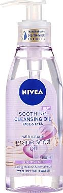 Huile démaquillante apaisante visage & yeux, peaux sensibles - Nivea Cleansing Oil Soothing Grape Seed