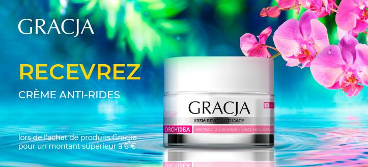 Lors de l'achat de produits Gracja pour un montant supérieur à 6 €, vous recevez une crème anti-rides en cadeau