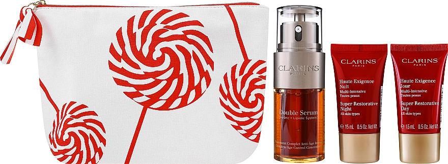 Coffret cadeau - Clarins Double Serum & Super Restorative (ser/30ml + cr/15ml + n/cr/15ml + bag) — Photo N2