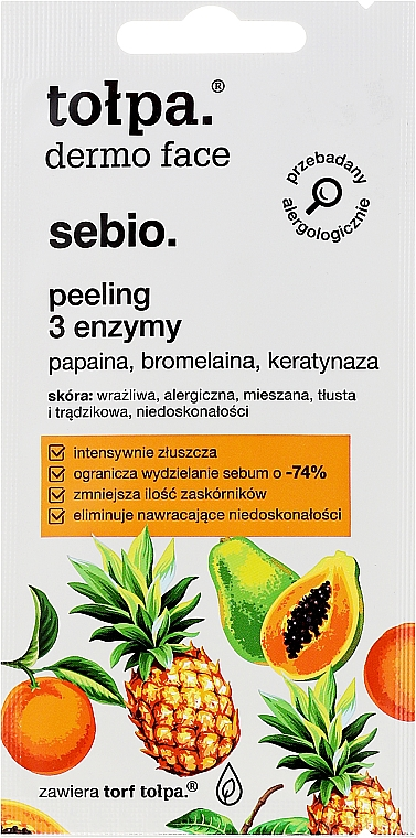 Masque et gommage nettoyant visage, 3 enzymes - Tolpa Dermo Face Sebio Cleansing Mask-Peeling (mini)
