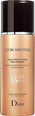 Huile écran solaire à huile de graines de tournesol pour visage, corps et cheveux - Dior Bronze Beautifying Protective Oil Sublime Glow SPF 15 — Photo N1