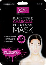 Parfums et Produits cosmétiques Masque tissu au charbon et acide hyaluronique pour visage - Xpel Marketing Ltd Body Care Black Tissue Charcoal Detox Facial Face Mask