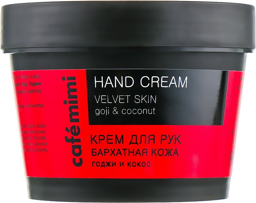 Crème pour mains, Goji et Coco - Cafe Mimi Hand Cream Velvet Skin