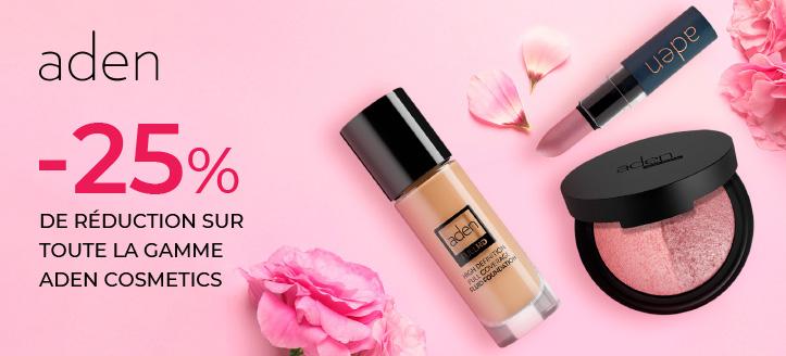 -25% de réduction sur toute la gamme Aden Cosmetics. Les prix sur le site sont indiqués avec des réductions