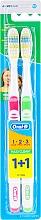 Parfums et Produits cosmétiques Brosses à dents 40 medium, rose et verte - Oral-B 1 2 3 Maxi Clean 40 Medium 1+1