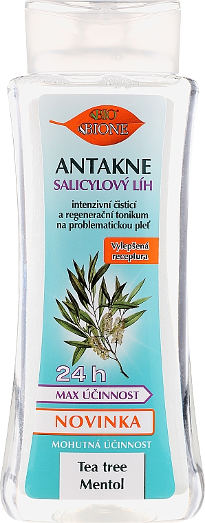 Tonique d'alcool salicylique anti-acné pour le visage Arbre à thé et menthol - Bione Cosmetics Antakne Salicylic Spirit Tea Tree and Menthol