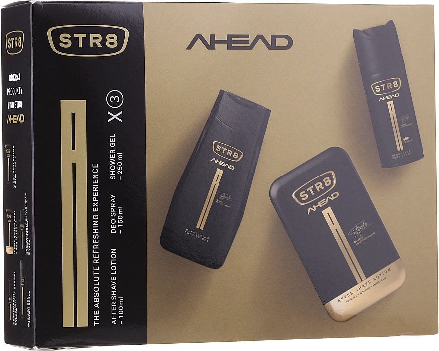 STR8 Ahead - Set (lotion après-rasage/100ml + déodorant spray/150ml + gel douche/250ml)