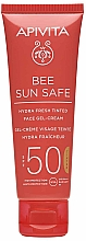 Parfums et Produits cosmétiques Gel-crème solaire teintée pour visage - Apivita Bee Sun Safe Hydra Fresh Tinted Face Gel-Cream SPF50