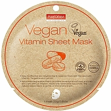 Parfums et Produits cosmétiques Masque tissu aux vitamines pour visage - Purederm Vegan Sheet Mask Vitamin