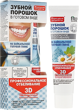 Pâte blanchissante 3D à l'argile bleue de Baïkal pour les dents - FitoKosmetik