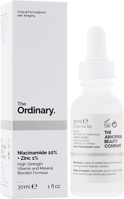 Sérum à la niacinamide et zinc pour visage - The Ordinary Niacinamide 10% + Zinc PCA 1%