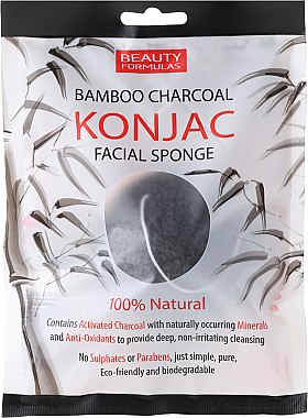 Éponge nettoyante réutilisable en bambou - Beauty Formulas Konjac Bamboo Charcoal Facial Sponge
