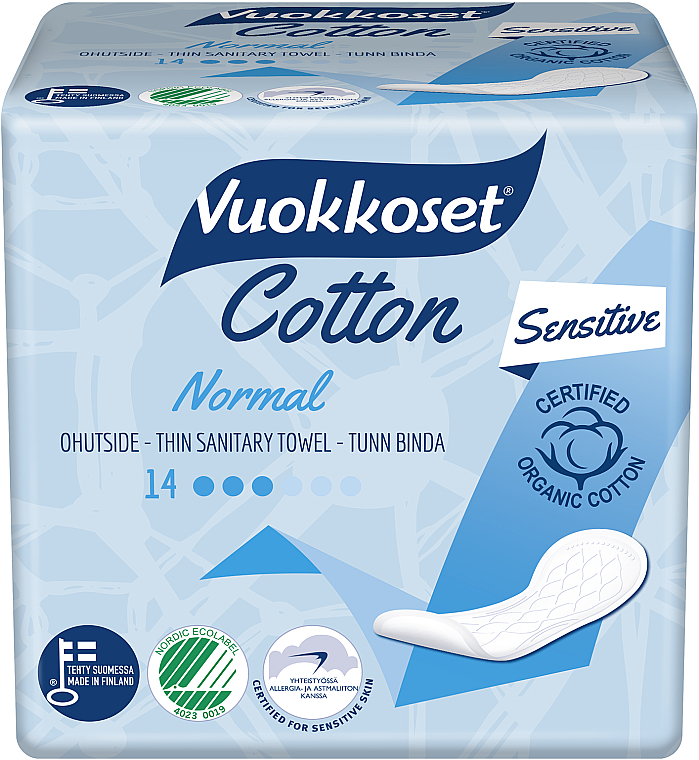 Serviettes hygiéniques sans ailes, 14 pcs - Vuokkoset Cotton Normal Sensitive
