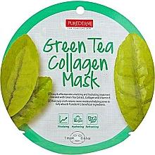 Parfums et Produits cosmétiques Masque tissu à l'extrait de thé vert et collagène pour visage - Purederm Green Tea Collagen Mask