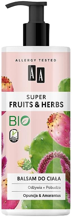Lotion bio pour corps, Figue de Barbarie et Amarante - AA Super Fruits & Herbs