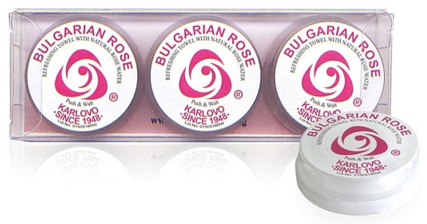 Lingettes rafraichissantes Rose Bulgare, 3 pcs - Bulgarian Rose Refreshing Towel With Natural Rose Water