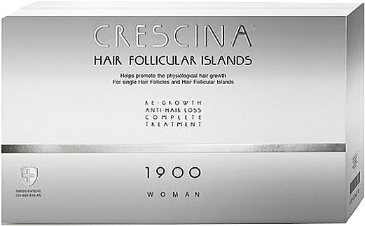 Traitement anti-chute, 20 ampoules - Crescina Hair Follicular Island Re-Growth Anti-Hair Loss Complete Treatment 1900 Woman — Photo N1