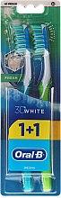 Parfums et Produits cosmétiques Duo brosses à dents, médium, bleu turquoise+vert - Oral-B 3D White Fresh 40 Medium 1+1