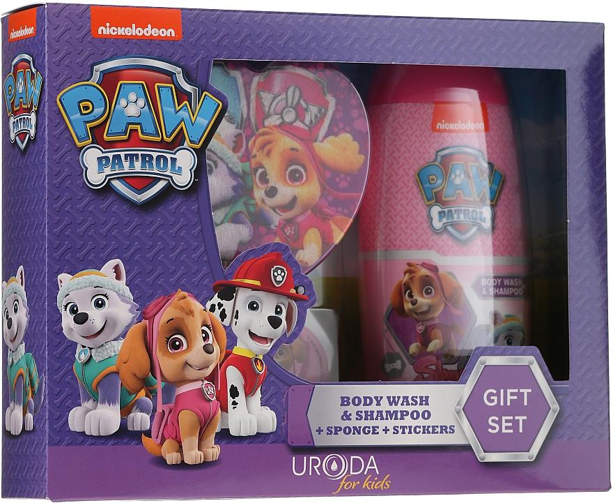 Uroda Paw Patrol Girl - Set (gel douche et shampooing/250ml + éponge de bain + autocollants)