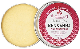 Parfums et Produits cosmétiques Déodorant crème naturel, Pamplemousse - Ben & Anna Pink Grapefruit Soda Cream Deodorant