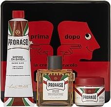 Parfums et Produits cosmétiques Kit de rasage - Proraso Classic Shaving Metal Red Primadopo (crème/100ml + crème à raser/150ml + crème après-rasage/100ml)