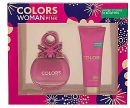 Parfums et Produits cosmétiques Benetton Colors Pink - Set (eau de toilette/80ml + lotion corporelle/75ml)