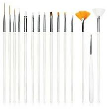 Parfums et Produits cosmétiques Kit pinceaux nail art, 15 pcs, blanc - Deni Carte