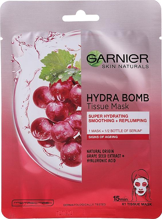 Masque tissu à l'extrait de raisin pour visage - Garnier Skin Naturals Hydra Bomb