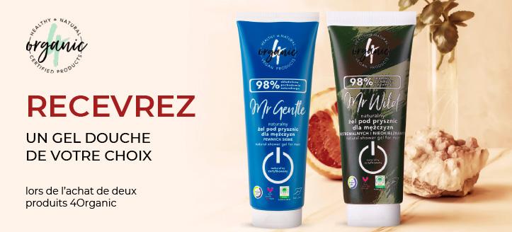 Lors de l'achat de deux produits 4Organic, vous recevez un gel douche de votre choix