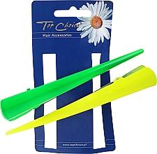 Barrettes à cheveux, 25143, jaune et vert - Top Choice — Photo N1