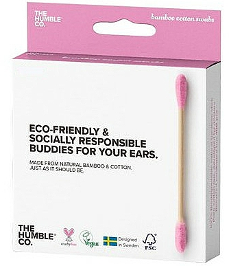 Cotons-tiges en bambou - The Humble Co. Cotton Swabs Pink