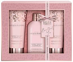 Parfums et Produits cosmétiques Baylis & Harding Jojoba, Vanilla & Almond Oil - Coffret cadeau(lotion corps/200ml + gel douche/300ml + crème douche/200ml)
