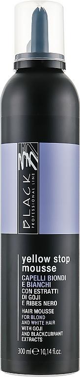 Mousse anti-jaunissement à l'extrait de baie de goji pour cheveux clairs et gris - Black Professional Line Yellow Stop Mousse