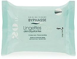 Parfums et Produits cosmétiques Lingettes démaquillantes à l'aloe vera pour peaux sensibles, 20 pcs - Byphasse Make-up Remover Aloe Vera Sensitive Skin Wipes