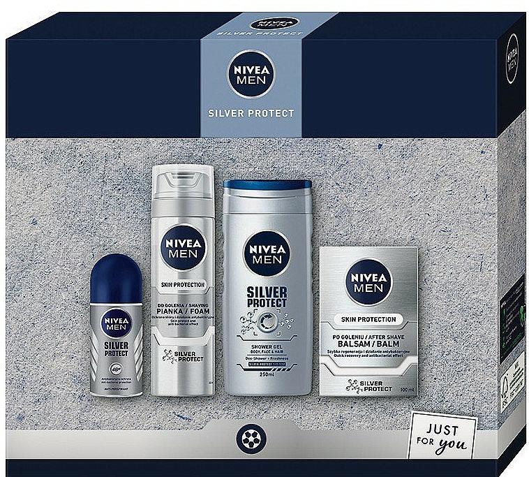 Nivea Men Silver Protect 2020 - Set (baume/100ml + mousse à raser/200ml + gel douche/250ml + déodorant/50ml)