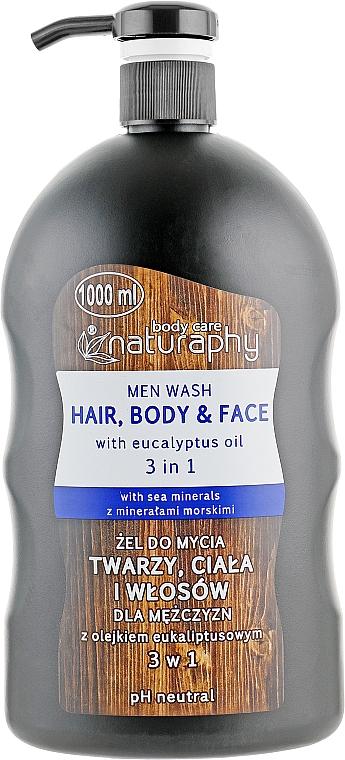 Gel lavant à l'huile d'eucalyptus pour visage, corps et cheveux - Bluxcosmetics Naturaphy Men