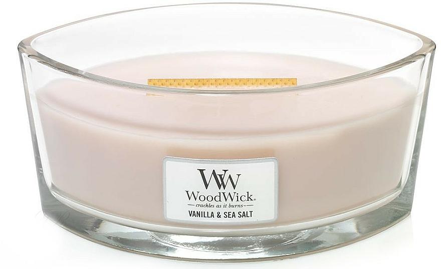 Bougie parfumée ellipse avec mèche en bois, Vanille et Sel marin - Woodwick Sea Salt & Vanilla Scented Candle — Photo N2