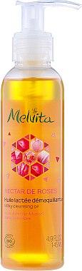 Huile lactée démaquillante à l'huile de rosier muscat et pétales de rose - Melvita Nectar De Rose Milky Cleansing Oil